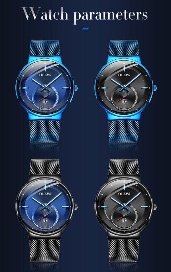 OLEVS 2020 New Fashion Men Watches Simple Blue Waterproof Date Quartz Watch Men Ultra-Thin Mesh Steel Sport Clock