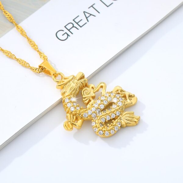 Dragon Charm Pendant With Water-wave Chain Girl Punk Fashion Jewelry