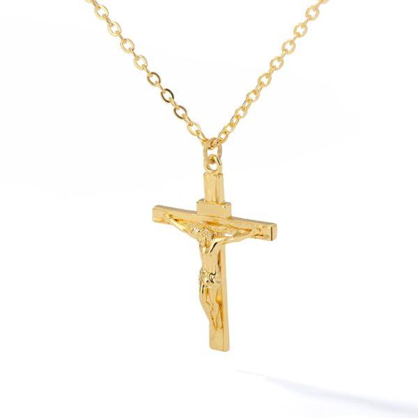Jesus Christ Cross Charm Pendant Gold/Silver Color With Neckace