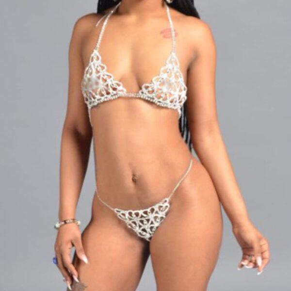 Women's Sexy Erotic Heart Lingerie Thong Panties Bikini Bra And Thong Set