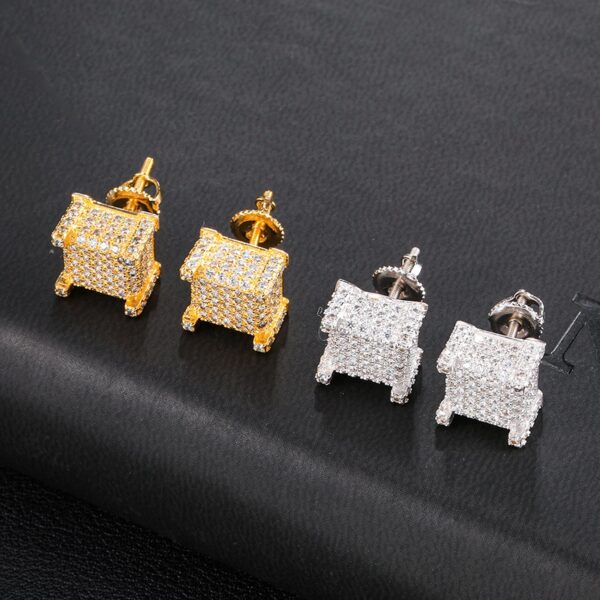 Square Bling Iced Out Silver/Gold Fashion Jewelry Stud Earrings