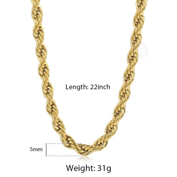 """Fashion Jewelry Gold Silver Color Chains 3/5/7mm 22"""" Twisted Rope Necklace"""