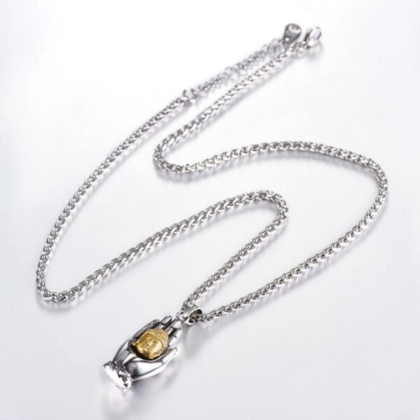 Happy Silver/Gold Buddha Hand Palms Pendant With 60cm Box Chain Necklace