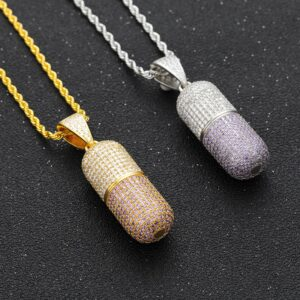 Iced out Silver/Gold Pill Capsule Charm Pendant With Rope Chain Necklace