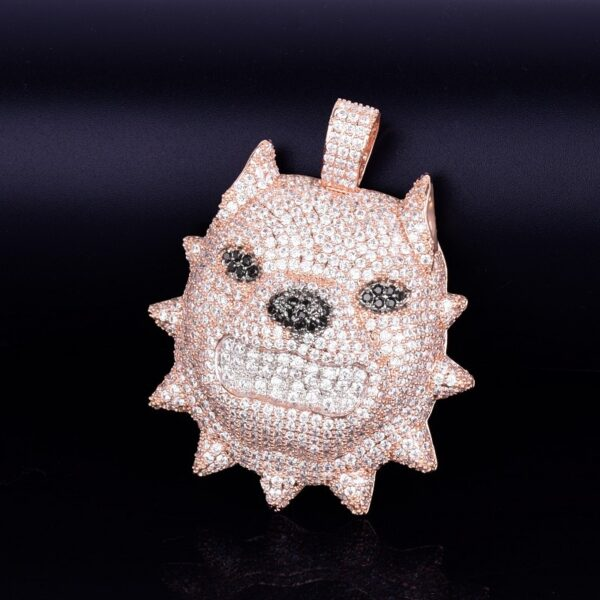 Icy Dog Head Pendant With Necklace