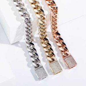10MM,12MM Cuban Link Chain Necklace With Iced Out Cubic Box Clasp