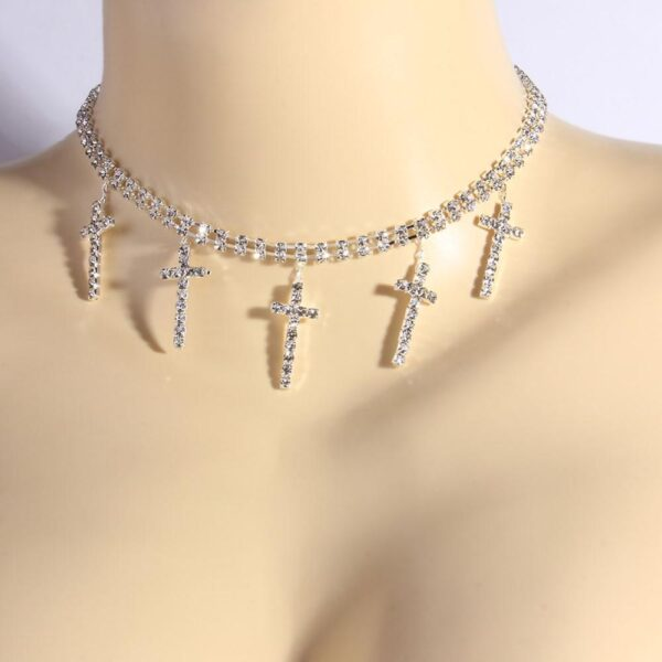 Religious Iced Cross Pendant Charm Necklace 2 layer Tennis Choker Chain
