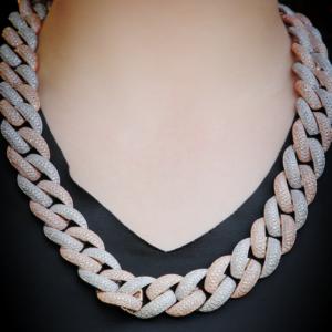 20mm Long Clasp Puffed Miami Cuban Link Choker Chain Link AAA+Cz