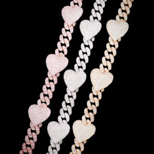 Women's 10MM Iced AAA+CZ Stones, Unisex Hearts Charm, Cuban Link Choker Necklace