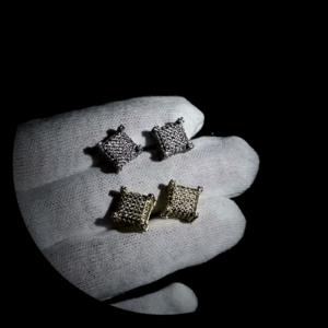 Unisex Square Silver/Gold Screw-back Stud Earrings AAA+Cz Bling