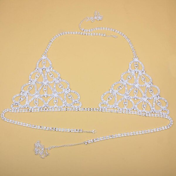 Sexy Body Lingerie Set Heart Body Jewelry for Women Crystal Bra Thong