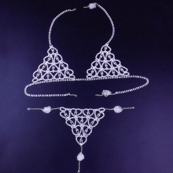 Sexy Crystal Body Heart Lingerie Jewelry Bikini Bra and Thong Panties