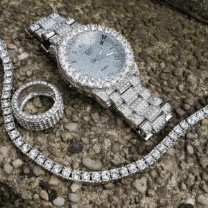 Men's Iced Bling Watch, Pinky Ring & Tennis 1 Row Bracelet Jewelry Set