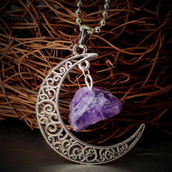 Natural Quartz Crystal Pendant Chakra Healing Gemstone Moon Necklace Jewelry