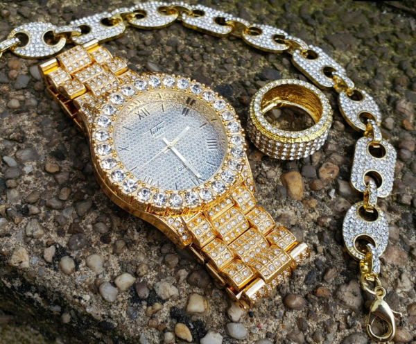 Men's Iced Bling Watch, Pinky Ring & Gucci Bracelet Jewelry Set