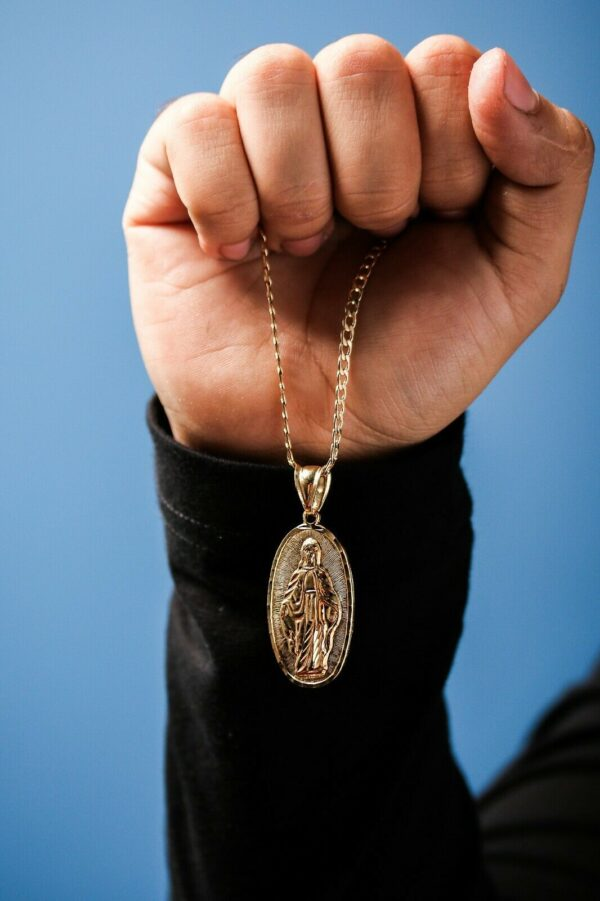 """Our Lady Of Guadalupe Charm Pendant With 18"""" 3mm Cuban Choker Link"""