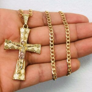 "Jesus Christ Cross Pendant With 22"" Cuban Link"