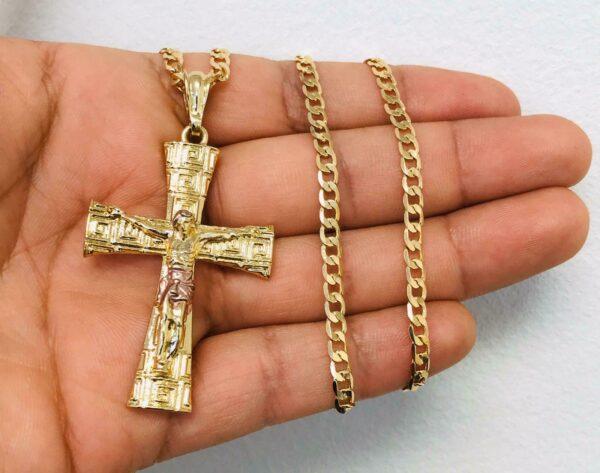 "Jesus Christ Cross Pendant With 22"" Cuban Link"