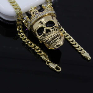 "King Head Skull Pendant With 24"" Cuban Chain Link"