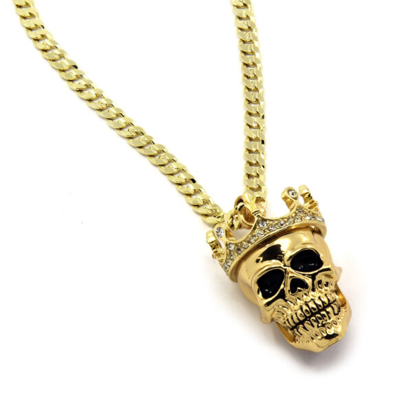 """King Head Skull Pendant With 24"""" Cuban Chain Link"""