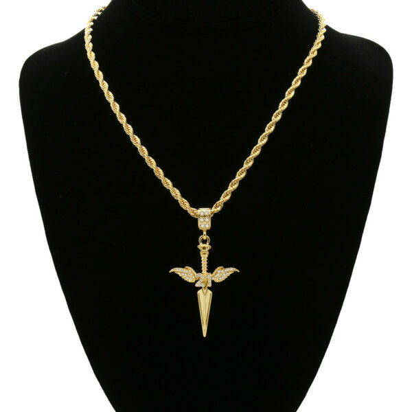 "Iced Dagger Pendant 24"" Rope Chain"