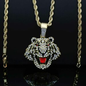 Fashionable Tiger Head Pendant With 24