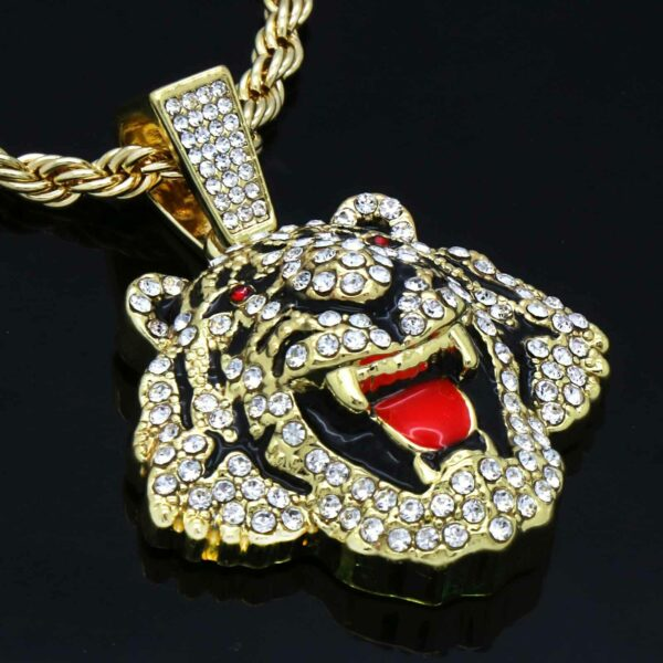 """Fashionable Tiger Head Pendant With 24"""" Rope Chain Necklace"""
