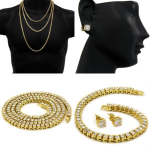 Women's 1 Row Tennis Necklace, Bracelet And Earring Jewelry Set