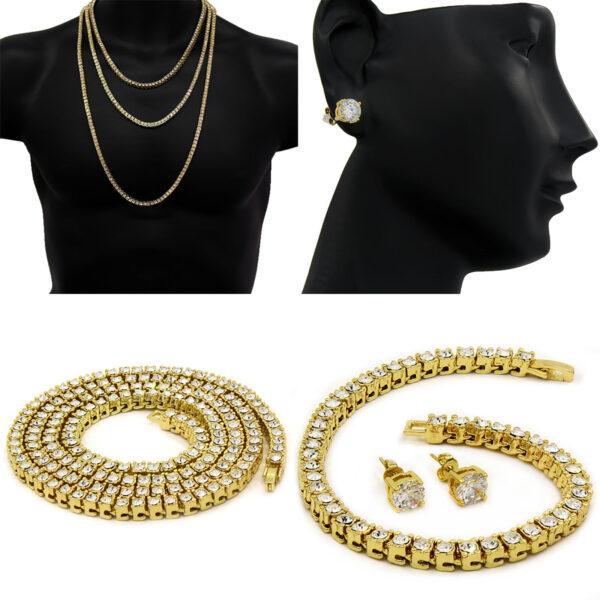Women's 1 Row Tennis Necklace, Bracelet And Earring Jewelry Set