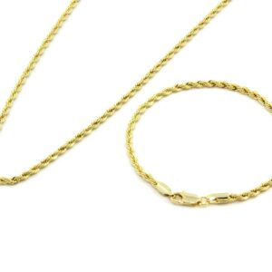 "24"" 3mm Fashion Dookie Rope Chain & Bracelet Jewelry Set"