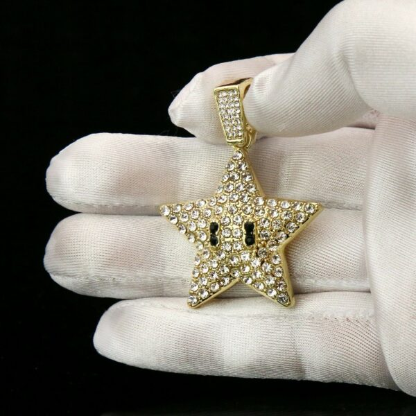 "Fashion Icy Cartoon Star Pendant With 4mm 24"" Rope Chain Necklace"