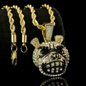 "Cartoon Mad Dog Pendant With 24"" Rope Chain"
