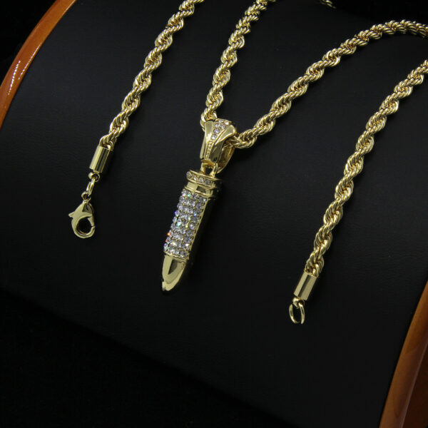 """Iced Riffle Bullet Pendant With 30"""" Rope Chain Necklace"""