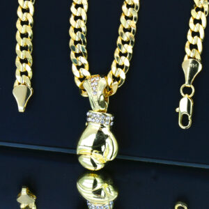 "Boxing Gloves Pendant With 30"" Cuban Link Chain"