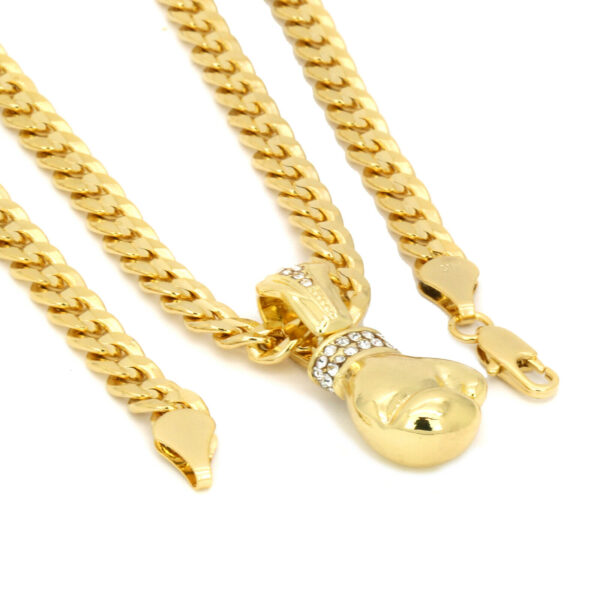 """Boxing Gloves Pendant With 30"""" Cuban Link Chain"""