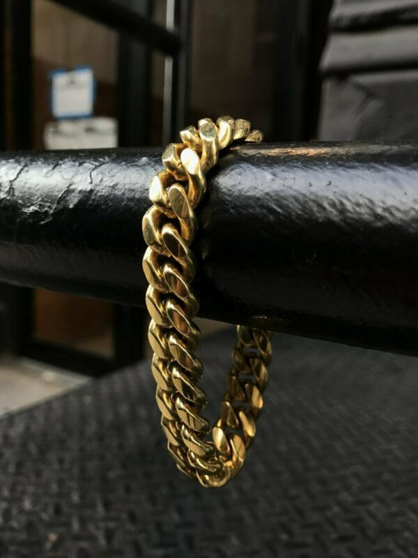 Mens Miami Cuban Link Chain Bracelet Solid 14k Gold Plated Stainless Steel