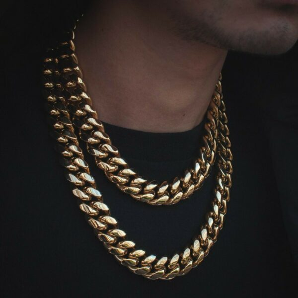 18mm Men's Miami Cuban Link Chain Real 18k Gold Solid Thick Necklace