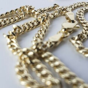 10K Real Gold 3mm 4mm 5mm Real Miami Cuban Link Chain Choker Necklace 16