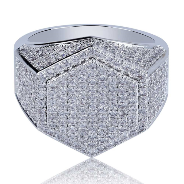 New Micro Pave AAA Cubic Zircon Stones Hexagon Shape Rock Jewelry Ring For Men