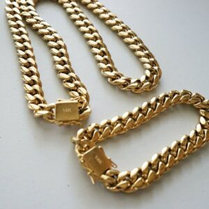 "Men's 14mm 30"" Miami Cuban Link Bracelet & Chain Set 14k Gold Plated Stainless Steel"