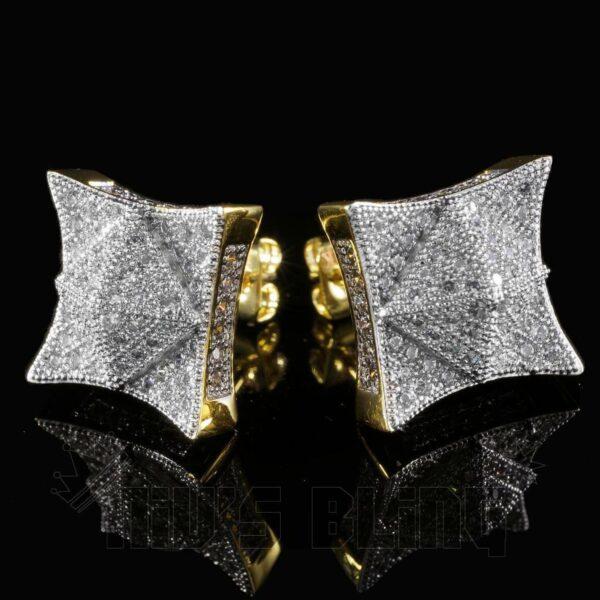 18K ICED Lab AAA+ Diamond Micropave Square Stud Earrings