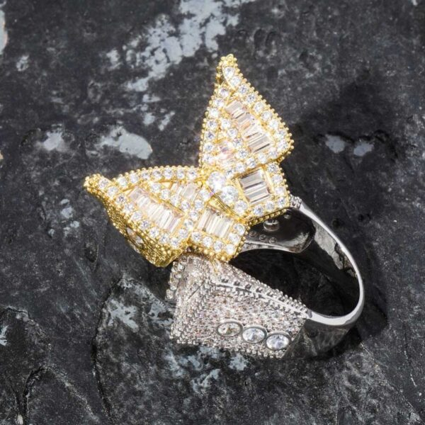 Iced Butterfly Gold Silver Color Plated Fashion Jewelry Ring