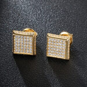 Unisex Iced AAA+ CZ Square Micro Paved Stud Earrings