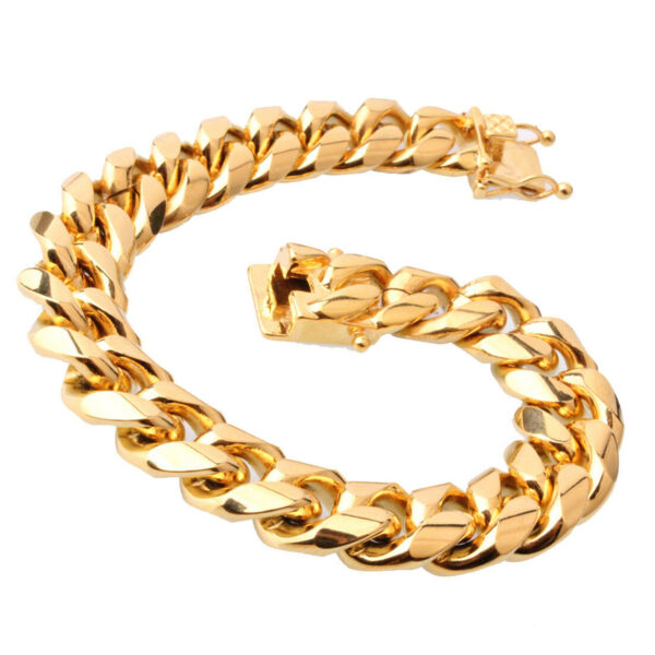 """Men's 14mm 30"""" Miami Cuban Link Bracelet & Chain Set 14k Gold Plated Stainless Steel"""