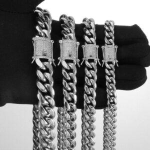 Miami Cuban Link Bracelet & Chain Fashion Jewelry Set 10mm Diamond Clasp