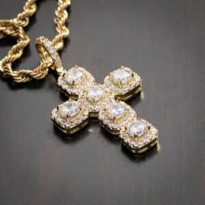 Jesus Christ Crucifix Rock AAA+ CZ Stones Pendant W/4mmX20