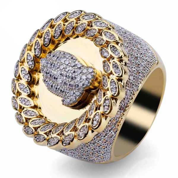 Men's Religious Praying Hands Micro Pave Iced Out Fashion Jewelry Pinky Ring