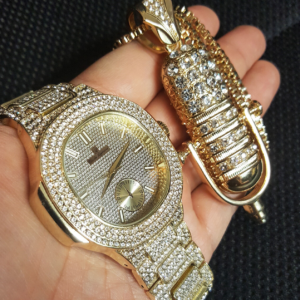 Men's Iced Wristwatch With Icy Rapper Mic Pendant & 30