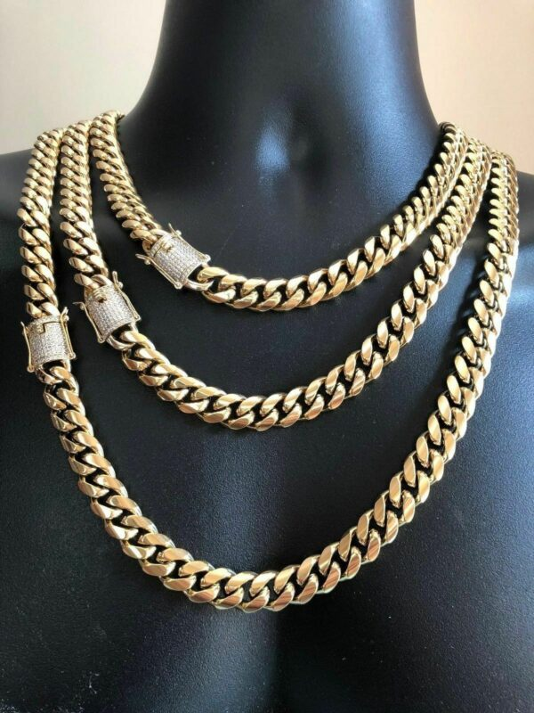 Mens Miami Cuban Link Bracelet & Chain Set 14k Gold Plated 8mm Diamond Clasp
