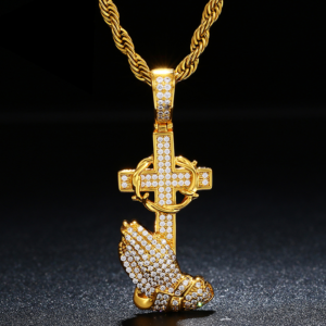 "Christian Praying Hands Cross AAA+ CZ Stone Pendant w/24"" Silver/Gold Rope Chain"